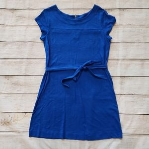 Merona Blue Cap Sleeve Belted Midi Dress XL